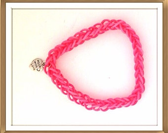 Handmade MWL small rubber bands linked together with jump ring and heart charm closure. 0239