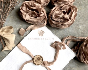 Rose Gold hand dyed Silk Ribbon, Hand dyed Silk Ribbon, Unpressed Silk Ribbon, Bouquet Silk Ribbon, Silk Ribbon, Rose Gold Ribbon, Rose