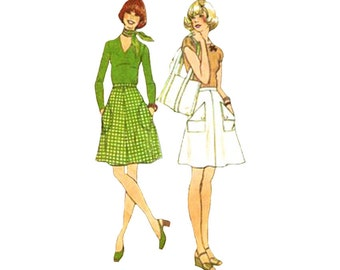 1970s Easy A Line Mini Skirt in 2 Lengths and Purse Simplicity 7120 Optional Ruffle Hem Waist 25 How to Sew Vintage Sewing Pattern