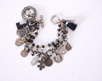 Charm bracelet steampunk religious repurposed bracelet assemblage French Vintage charms