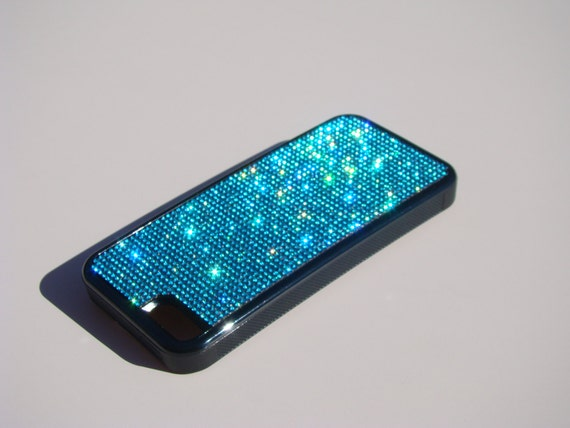 iPhone 5C Aquamarine Blue Rhinestone Crystals on Black Rubber Case. Velvet/Silk Pouch Bag Included, Genuine Rangsee Crystal Cases.