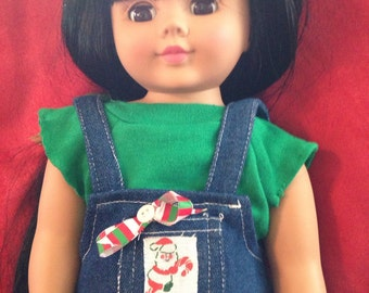 "Christmas Cropped Overalls w T Upcycled for 18"" dolls"