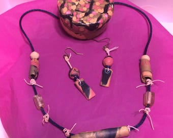 Polymer Necklace,Earrings, and Tin Gift Set