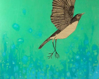 fancy bird floats toward a blue green sky ORIGINAL mixed media painting 12 x 12