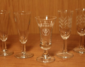 Footed Stem Shot Glasses ~ Jagermeister ~ Clear Glass ~ Etched Frosted Design ~ Elegant Form ~ Collectible Barware