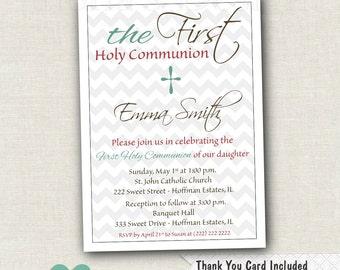Girl First Communion Invitation - Grey Chevron Communion Invitation - Printable Religious Invite - Cross Invitation - 1st Communion