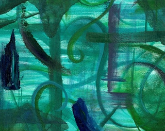 Green Contemplation, Limited Edition Fine Art Giclee Print, 8x10 in 11x14 mat