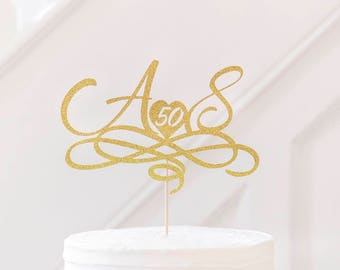 Wedding Anniversary.Cake Topper.50th Golden anniversary. Mr and Mrs. Wedding Cake Topper.Wedding Party Decoration.Table Decoration.Initials