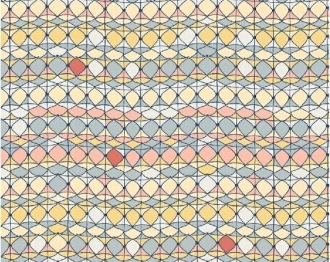 Tidal Lace - Shimmer in Coral - Orange Blue Cotton Quilt Fabric - by Kim Andersson for Windham Fabrics - 40004-4 (W2712)