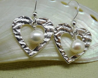 Silver heart and freshwater pearl earrings