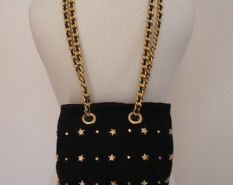 Navy Suede Nautical Purse- Gold Metal Vintage - 80s Spanish Designer - BEVERLEY FELDMAN - Gold Star Diamond Purse