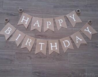 Happy Birthday Burlap Banner, Happy Birthday Bunting Garland, Happy Birthday Sign, Burlap Banner Bunting Garland, Birthday Party Decoration,