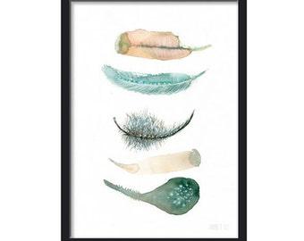 Boho-Feder-Druck. Aquarell Art Print - 5 bunte Federn: grün, gelb und Pfirsich. Giclee aus original Aquarell-Malerei