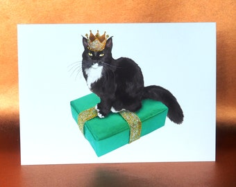 Tuxedo Cat Wearing Crown on a Birthday Present Card, Cat Glitter Birthday Card