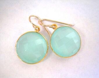 Aqua Chalcedony Drop Gold Earring, Dangle, Aqua Mint Chalcedony Earring, Faceted Round