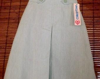 Vintage 80s Deadstock Mint Green Kick Pleat A line Skirt S Fee shipping