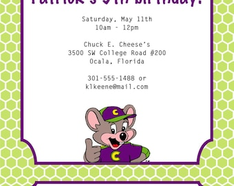 Chuck E Cheese Birthday Invitation Chuck E Cheese Invitation - Chuck e cheese birthday invitation template