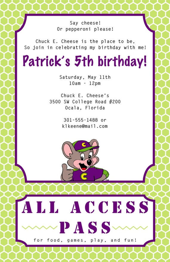 Chuck E Cheese Birthday Invitation