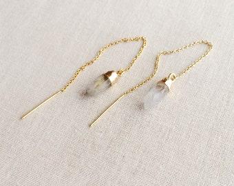 Quartz Threader Earrings ~ 14k Gold Filled Chain Threader Crystal Earrings