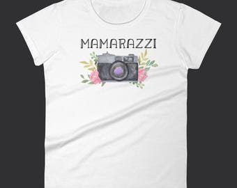 Mamarazzi Shirt / Vintage Camera / Funny Photographer Shirt / Camera T-Shirt / Flowers / Funny Camera Tee / Camera Shirt / Women's Fit