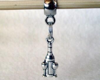 European Charm Bracelet Antique Silver-Tone Wine Bottle and Glasses Charm 21mm x 8mm B35527