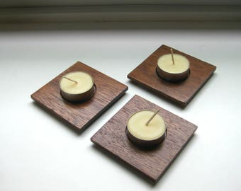 Reclaimed Mahogany Wood Tea Light Candle Holders-Set of 3 with Beeswax Tea Lights Included!