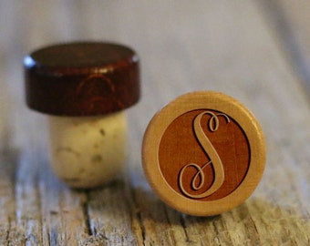 BEST PRICE ** Lot of Personalized Custom Wine Stopper, Laser Engraved Cork Bottle Topper, Reusable Rustic Wedding Favor --WS-L-SCircle