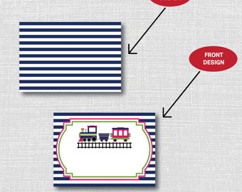 INSTANT DOWNLOAD - Girl Choo Choo Train Birthday Party Food Tent Cards - Train Birthday - Digital Design