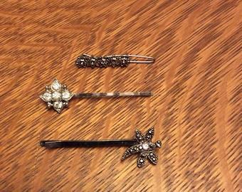 Vintage hair bobbie pins and barettes