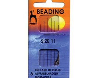 Pony Beading Needles Pack Of 6 Sizes 11 Jewellery Making