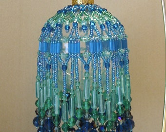 Beaded Fancy Fringed Ornament Cover - Beading Instructions - Tropical Blue