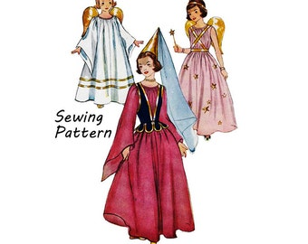 """Simplicity 4071 Tween Girl's Angel, Princess, and Fairy Costume Sewing Pattern Size Large Breast 30-32"""" / 76-81cm Vintage 1950s"""