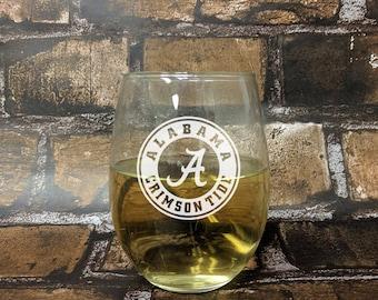 Alabama - Crimson Tide Engraved Wine Glass