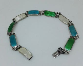Vintage Quality Gillouche Enamel Bracelet in Blue, Green and Cream ON 925 Silver Linked Panels.
