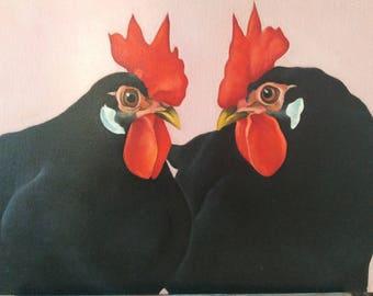 ORIGINAL black leghorn chicken oil painting