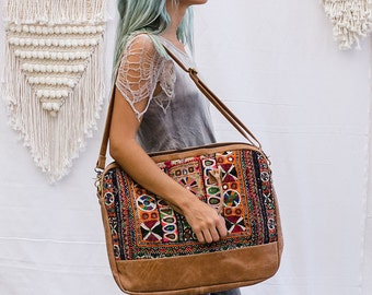 Tribal Embroidery Leather Laptop Bag, Laptop Messenger Bag, Laptop Shoulder Bag, Laptop Bag 15.6- 13- 17 inch, Laptop Handbag
