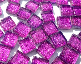 Purple Tiny Glitter Tiles - 1 cm - Use for Mosaic Jewelry Crafts - 100 Metallic Tiny Glass Tiles - Bright Violet