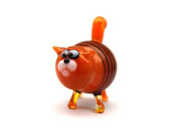 Glass cat Miniature, Animals Glass, Art Glass cat, Glass Blown cat , Sculpture Made Of Glass, Glass Art