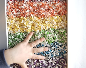 Glitter Rainbow Sprinkles: Paper Sensory Bin, Rainbow Paper Sprinkles, Sensory Kit, Play Time for Toddlers, Discovery Learning, Montessori