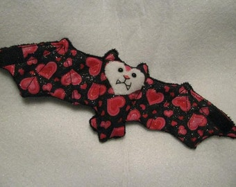 Valentine's Day Bat Cup Sleeve/Cozie - Black fur with sparkly hearts