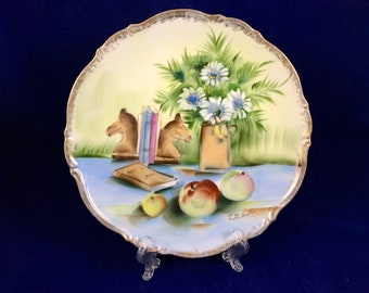 Antique Still life Plate  Hand-painted and signed by artist, T. Shibuta, Norleans, Japan