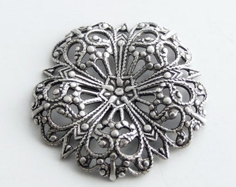 LuxeOrnaments Oxidized Sterling Silver Plated Brass Filigree 29mm Dapped Focal Flower (1 pc) N97-VJS AT-3678
