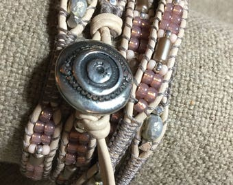 Leather Wrap Bracelet, 'Pale Pink and Taupe' 5X