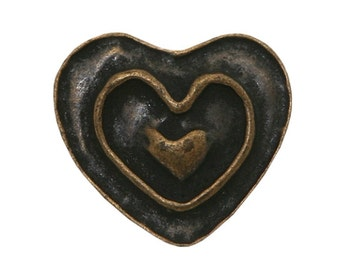 3 Rustic Heart 11/16 inch ( 18 mm ) Dill Metal Buttons Antique Brass Color