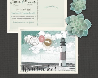 Destination wedding Nantucket Massachusetts coastal save the date Postcard lighthouse sketch drawing watercolor illustrated Deposit Payment