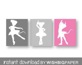 Angelina Ballerina Wall Art Print-set of three (3) prints-Instant Download.Angelina Ballerina Nursery.Angelina Ballerina Bedroom.Mouse Art