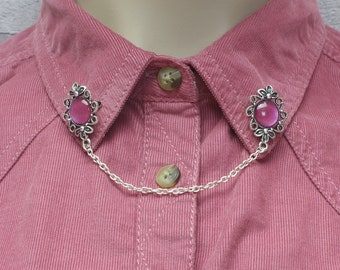 Red Collar Pins, Sweater Pins, Victorian Brooch, Collar Chain, Victorian Jewellery, Lapel Pins, Collar Brooch