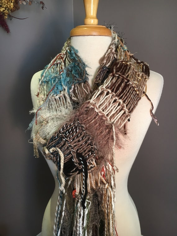 Fringed knit extra long lightweight artwear Scarf, 'Outlaw', Dumpster Diva, Knit Fringed ivory taupe aqua rust Scarf, bohemian fashion