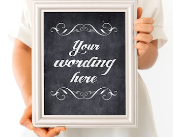 custom faux chalkboard wedding sign - printable poster - diy chalk, personalised wedding decoration reception decor ceremony sign welcome