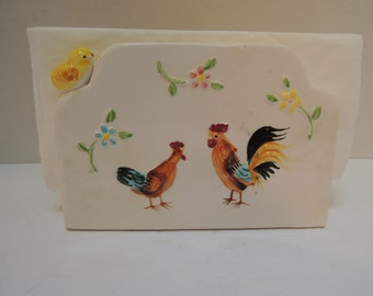 Napkin Holder, Ceramic Rooster n Chicken, Two small yellow chicks, Excellent condition, Vintage